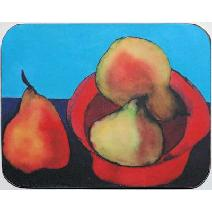Pears in Red Bowl Coaster Image