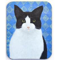 Black and White Cat Coaster Image