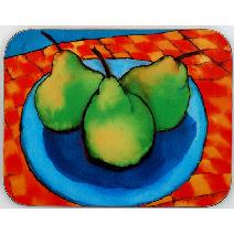 Pears on Check Rug Coaster Image